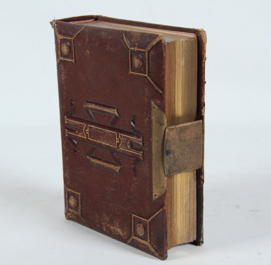 LEATHER AND BRASS BOUND PHOTO ALBUM WITH PORTRAIT