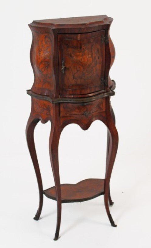 DIMINUTIVE CONTINENTAL CABINET ON STAND