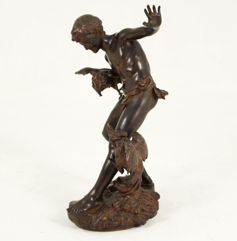 PAUL CHEVRE, FRENCH BRONZE OF BOY WITH ROOSTER