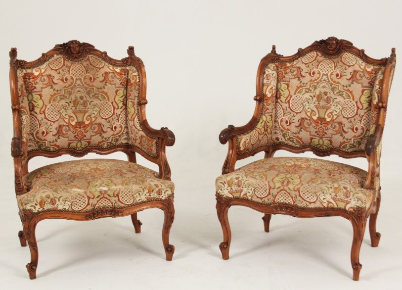 PAIR OF FRENCH LOUIS XV STYLE WALNUT BERGERES