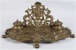 FRENCH GILT BRONZE FOOTED DOUBLE INKWELL