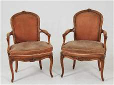 PAIR OF 18TH C CARVED WALNUT LOUIS XV FAUTEUILS