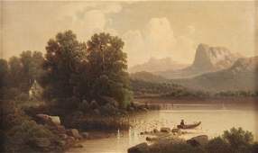 LATE 19TH20TH C SIGNED OIL ON CANVAS LAKE SCENE