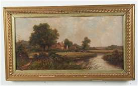 LATE 19TH20TH ENGLISH OIL ON CANVAS LANDSCAPE PAINTING