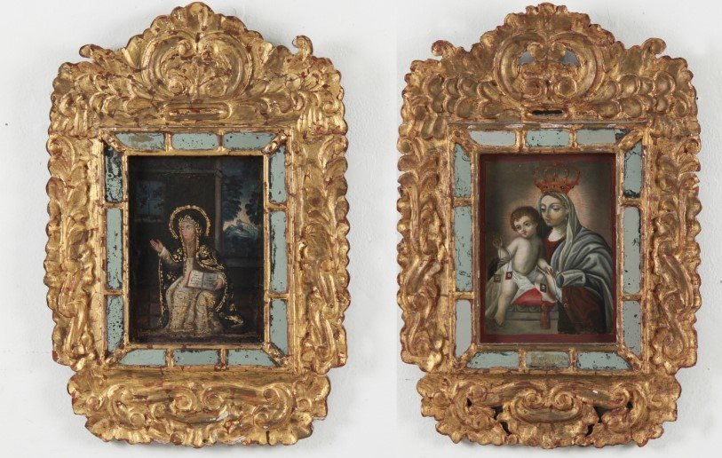 PAIR OF SOUTH AMERICAN FRAMED ICONS