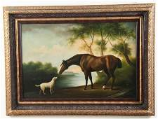 DECORATIVE FRAMED OIL ON CANVAS PAINTING OF HORSE WITH