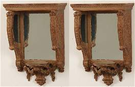 PAIR OF FRENCH CARVED GILTWOOD MIRRORED SCONCES