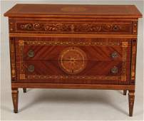 ITALIAN MARQUETRY INLAID 3 DRAWER COMMODE