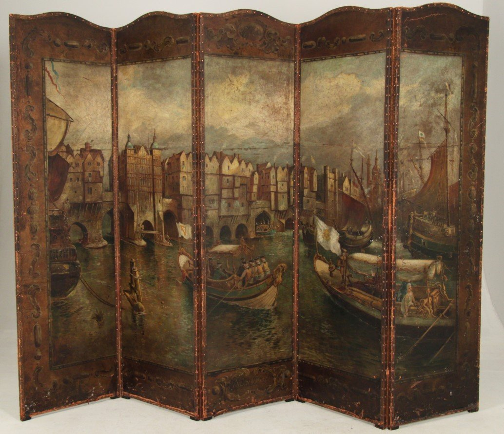 IMPORTANT LATE 18TH/19TH C. OIL ON LEATHER 5 PANEL