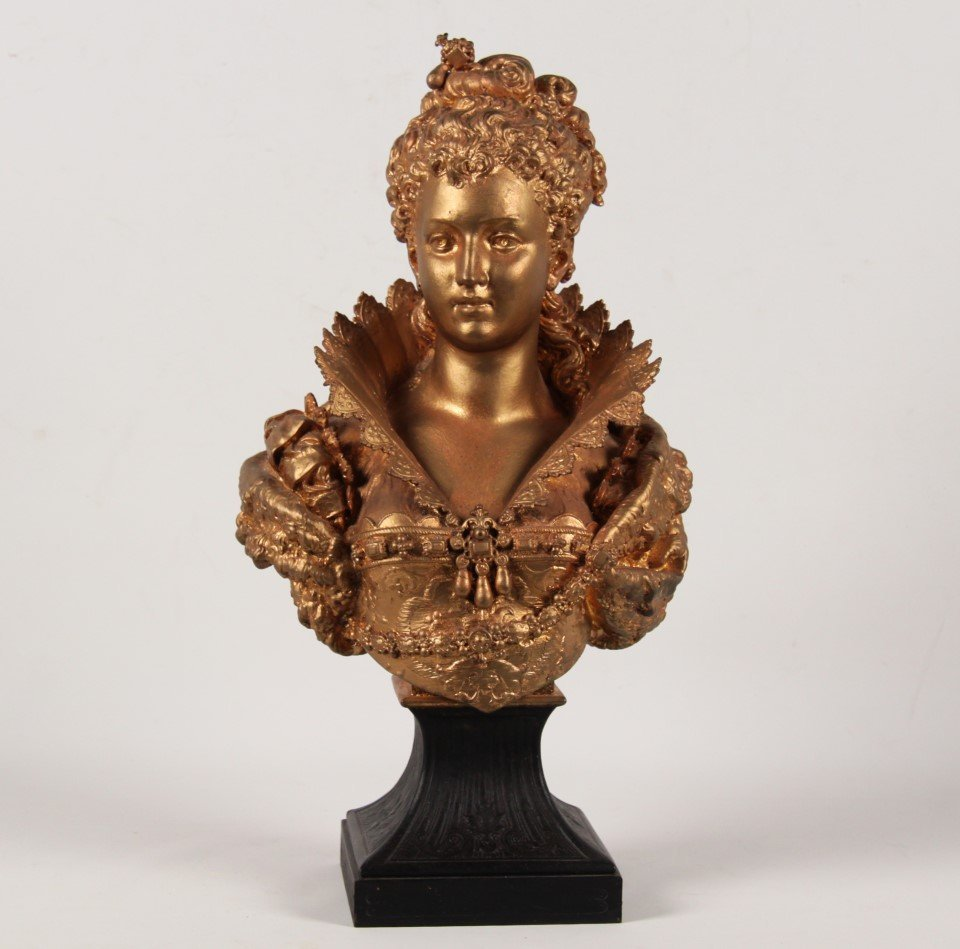 H. MOREAU, FRENCH GILT METAL BUST