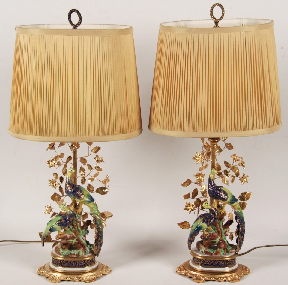 PAIR OF PORCELAIN SEVRES STYLE PEACOCK LAMP
