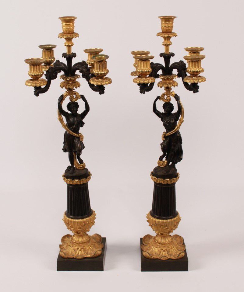 PAIR OF 19TH C. FRENCH BRONZE 5 LIGHT CANDELABRA
