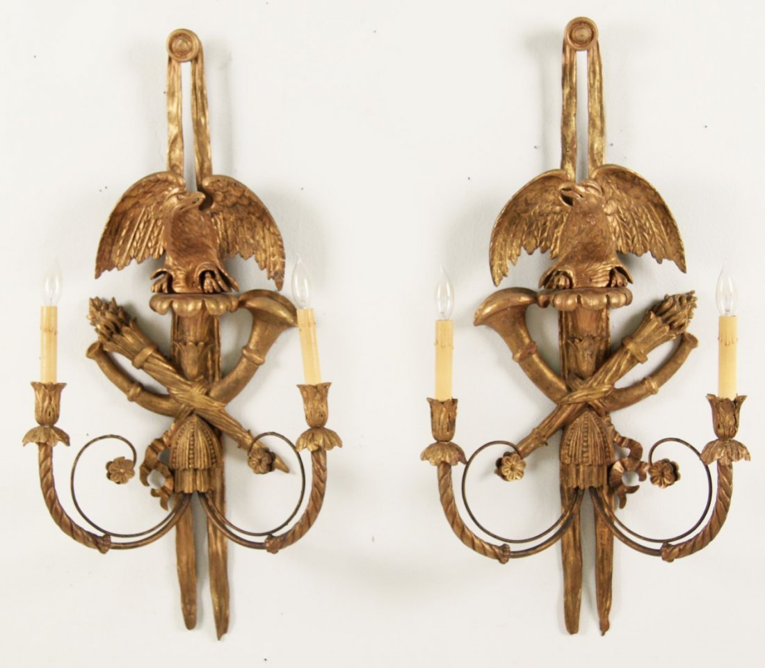 PAIR OF AMERICAN EAGLE CARVED SCONCES