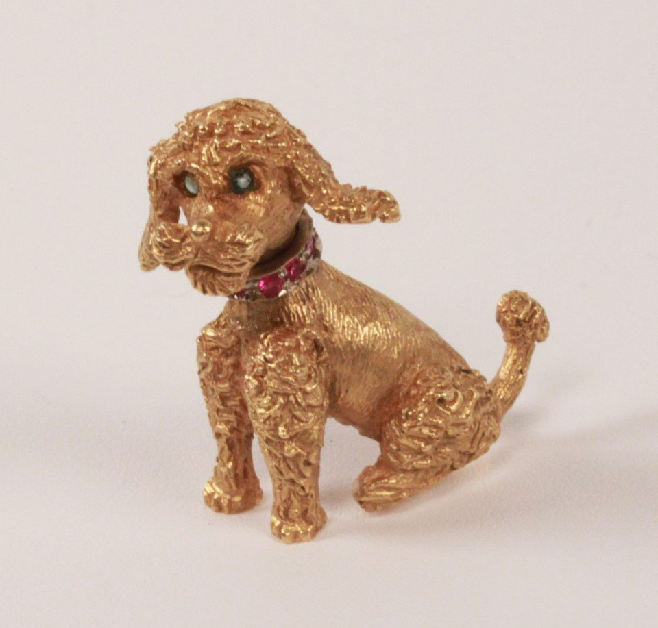 18K YELLOW GOLD POODLE PIN