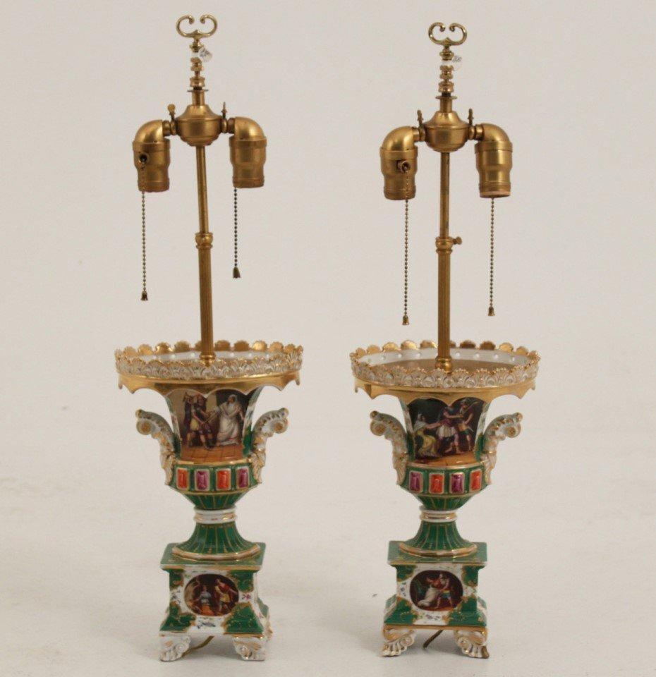 PAIR OF OLD PARIS PORCELAIN URN SHAPED LAMPS
