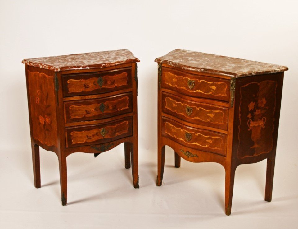 PAIR OF BRONZE MOUNTED MARQUETRY INLAID COMMODES