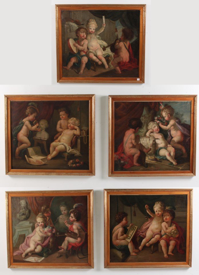 GROUP OF 5 ITALIAN ALLEGORICAL OIL ON CANVAS PAINTINGS