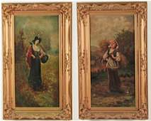 J.T. COULEIG, PAIR OF OIL ON CANVAS PAINTINGS OF WOMEN