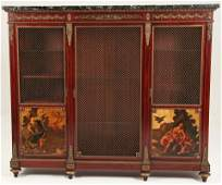 19TH C. FRENCH BRONZE MOUNTED MARBLE TOP VITRINE