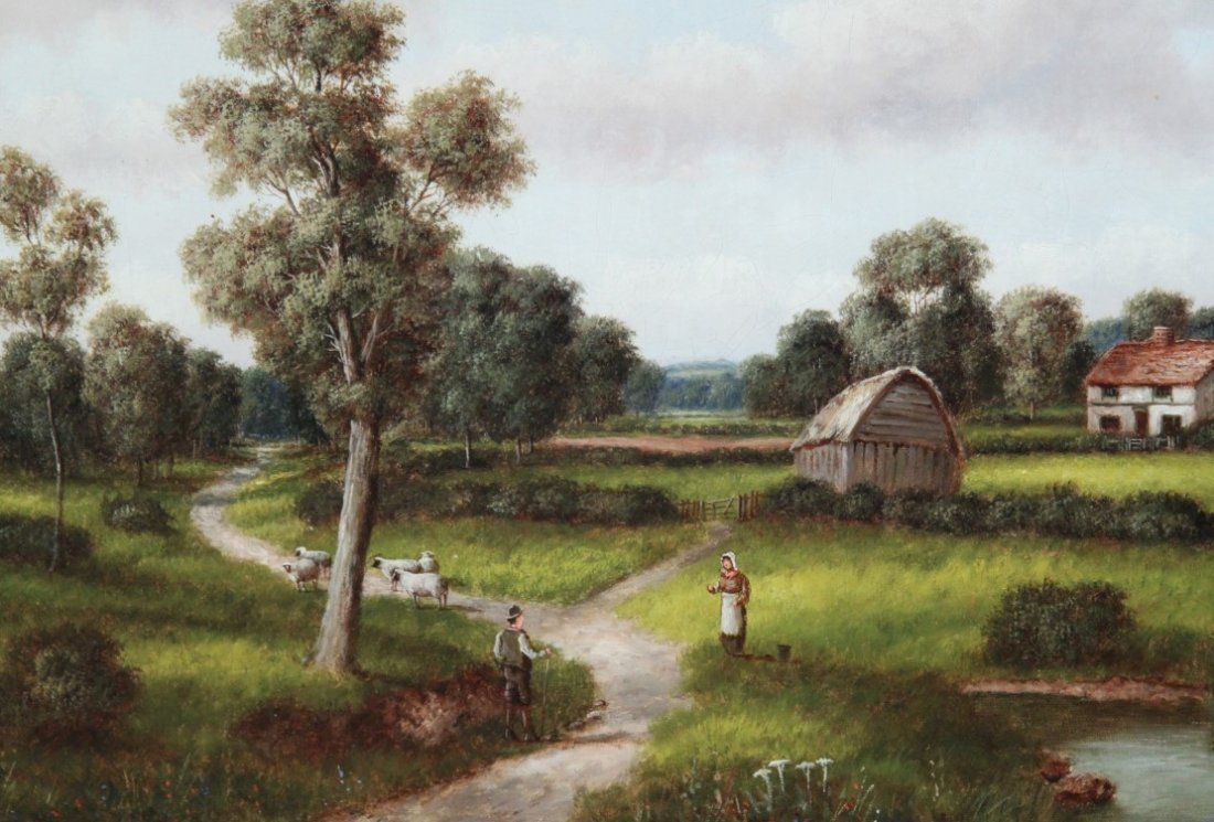G. THOMPSON, 19TH C. OIL ON CANVAS LANDSCAPE PAINTING