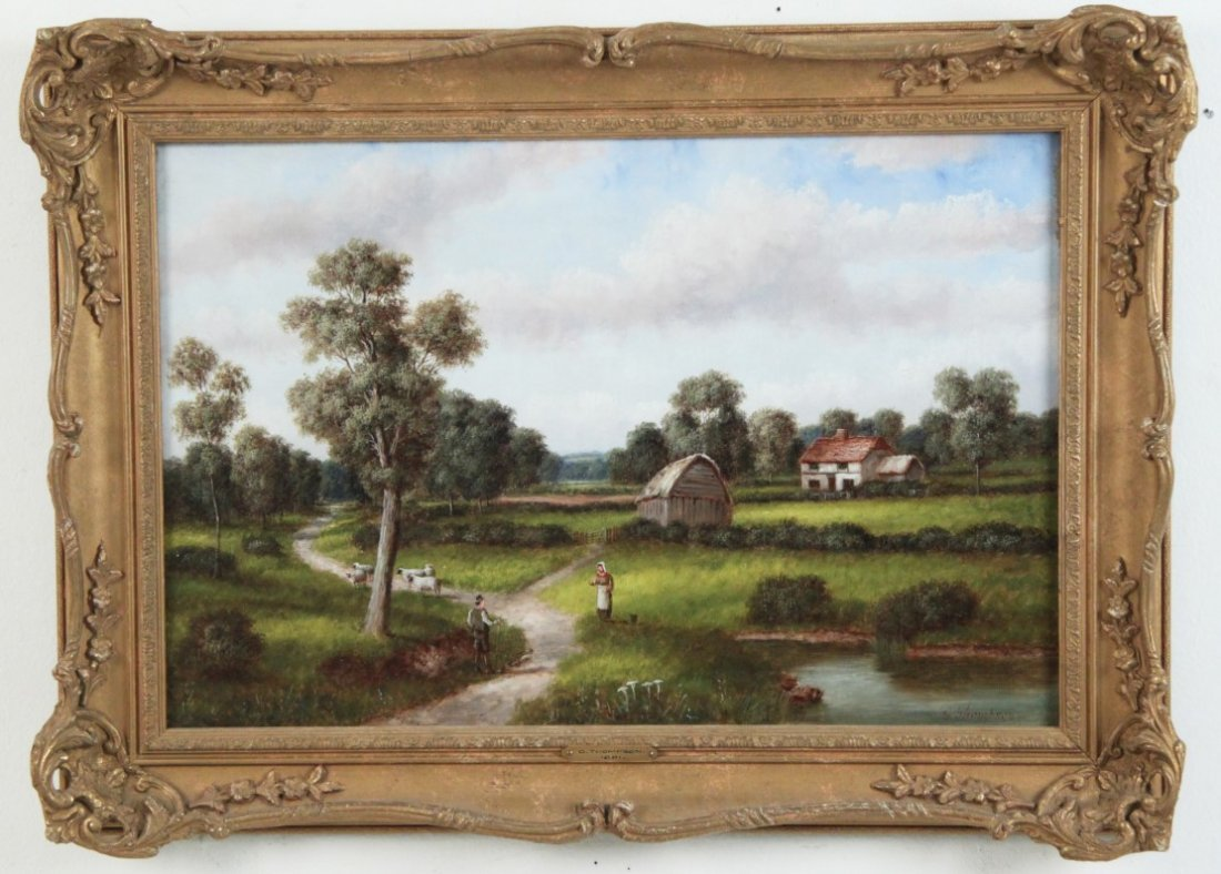 G. THOMPSON, 19TH C. OIL ON CANVAS LANDSCAPE PAINTING - 2