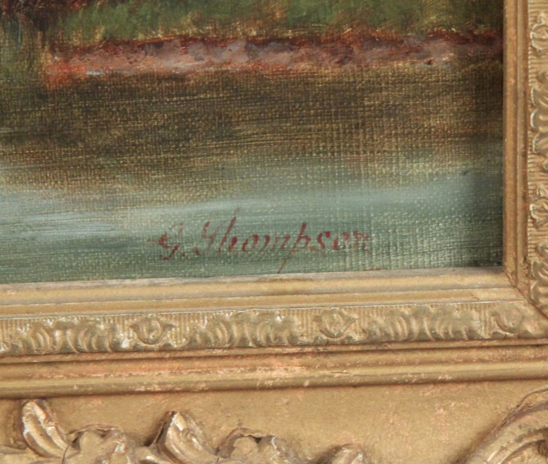 G. THOMPSON, 19TH C. OIL ON CANVAS LANDSCAPE PAINTING - 3