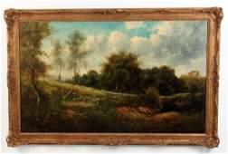 LARGE 19TH C OIL ON CANVAS WOODED LANDSCAPE PAINTING