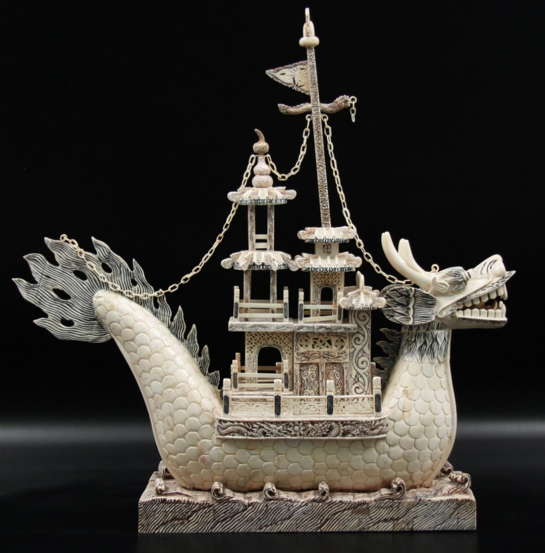 MONUMENTAL CARVED IVORY CHINESE DRAGON BOAT