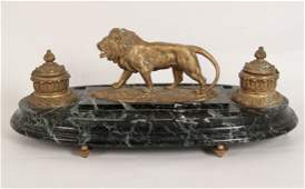 LARGE FRENCH GILT BRONZE MARBLE INKWELL