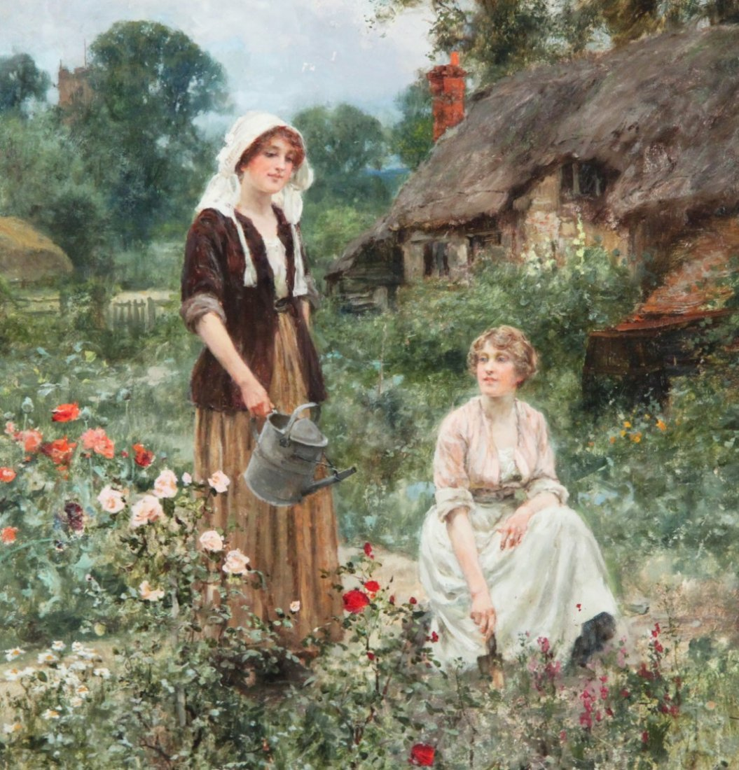 """YEEND KING,  19TH C. OIL ON CANVAS """"WATERING THE ROSES"""""""