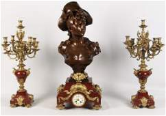 IMPRESSIVE 3 PIECE FRENCH BRONZE AND MARBLE CLOCK SET