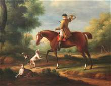 ENGLISH STYLE OIL ON CANVAS HUNT SCENE PAINTING
