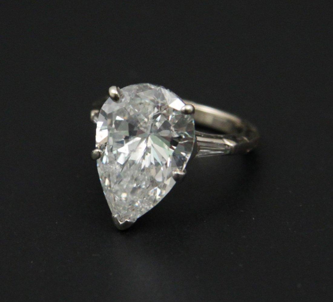 14K WHITE GOLD 7.71 CT PEAR BRILLIANT DIAMOND SOLITAIRE