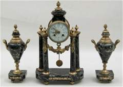 3 PIECE FRENCH BRONZE AND MARBLE CLOCK SET