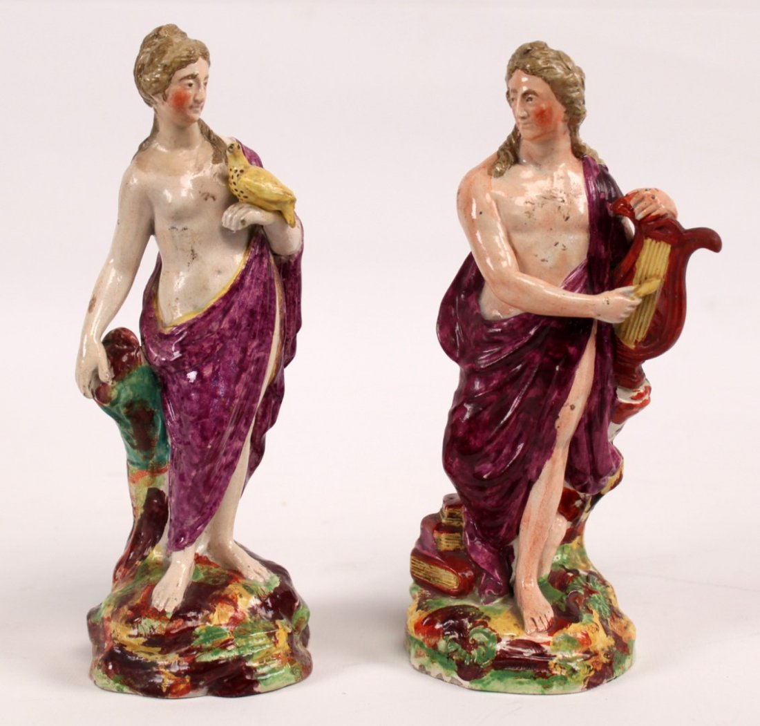 PAIR OF ENGLISH SAMPSON SOFT PASTE PORCELAIN FIGURES