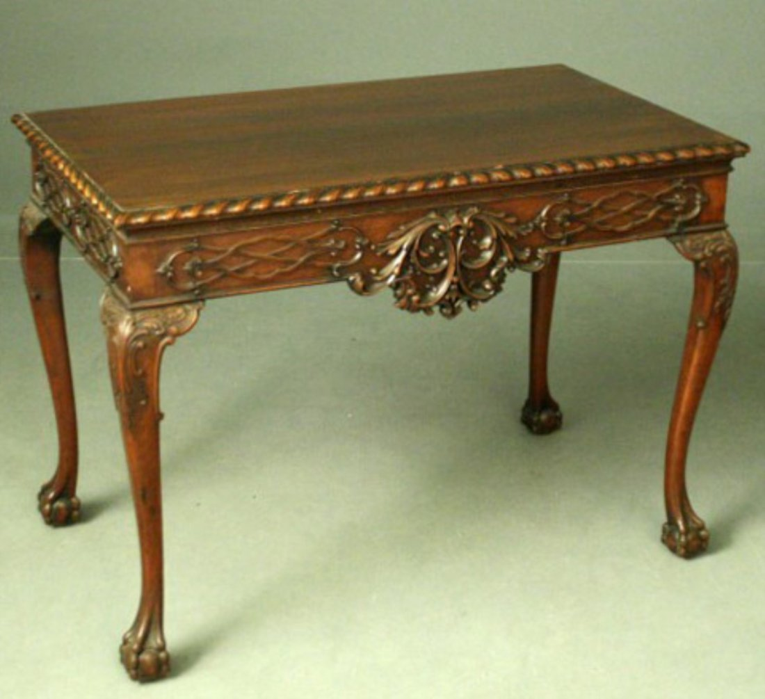 ENGLISH CHIPPENDALE STYLE MAHOGANY SILVER TABLE
