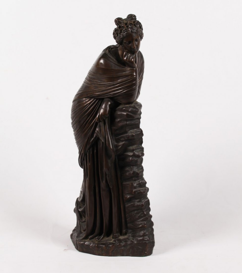 FRENCH BRONZE SCULPTURE OF FEMALE LEANING ON WALL