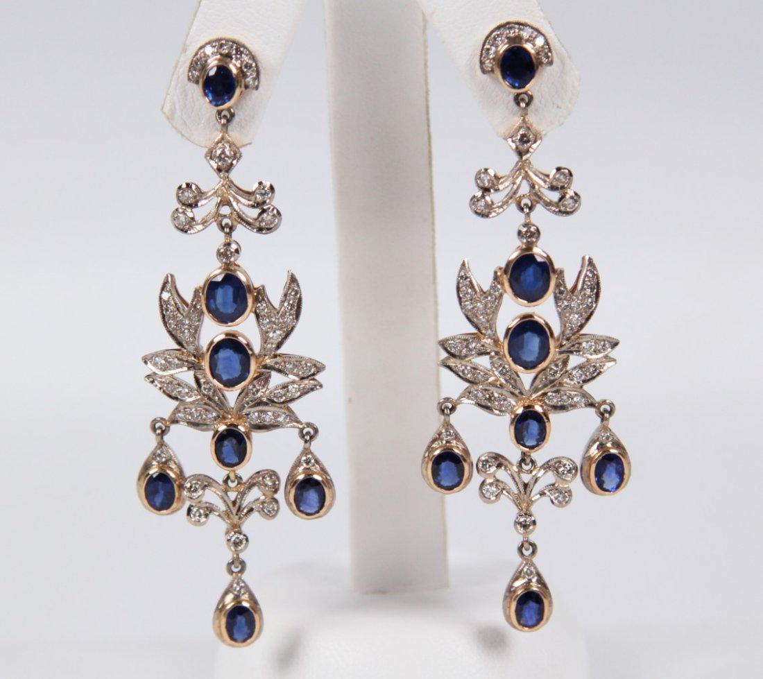 PAIR OF 18K DIAMOND AND BLUE SAPPHIRE EARRINGS