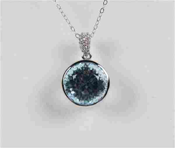 14K DIAMOND AND BLUE TOPAZ PENDANT NECKLACE