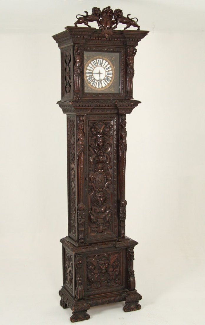 CARVED WALNUT FRENCH/ITALIAN GRANDFATHER CLOCK