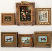 6 DECORATIVE OIL ON CANVAS PAINTINGS