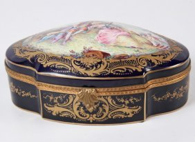 French Sevres Style Hinged Porcelain Box
