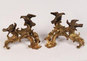 Pair Of 19th C. French Dore Bronze Chenets