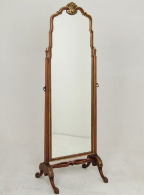 English Walnut And Partial Gilt Cheval Mirror