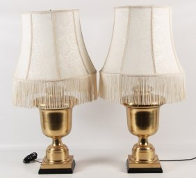Pair Of Chapman Solid Brass Lamps