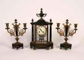 3 Piece French Verde Marble Clock Set