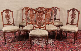 Set Of 8 Louis Xv Provincial Carved Oak Dining Chairs