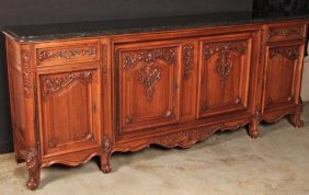 Large Provincial Carved Walnut Marble Top Sideboard