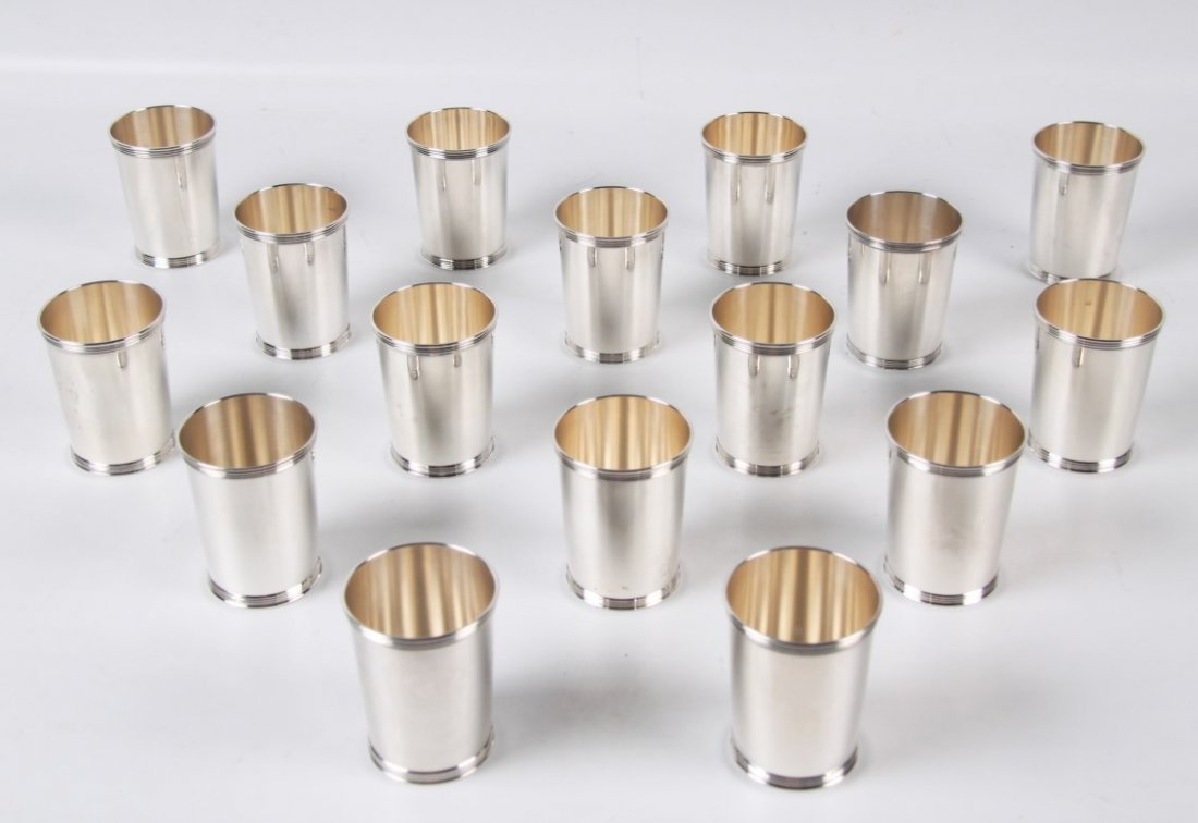 63 TROY OZS., 16 STERLING SILVER MINT JULEP CUPS