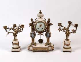French 3 Piece Marble And Wedgewood Clock Garniture
